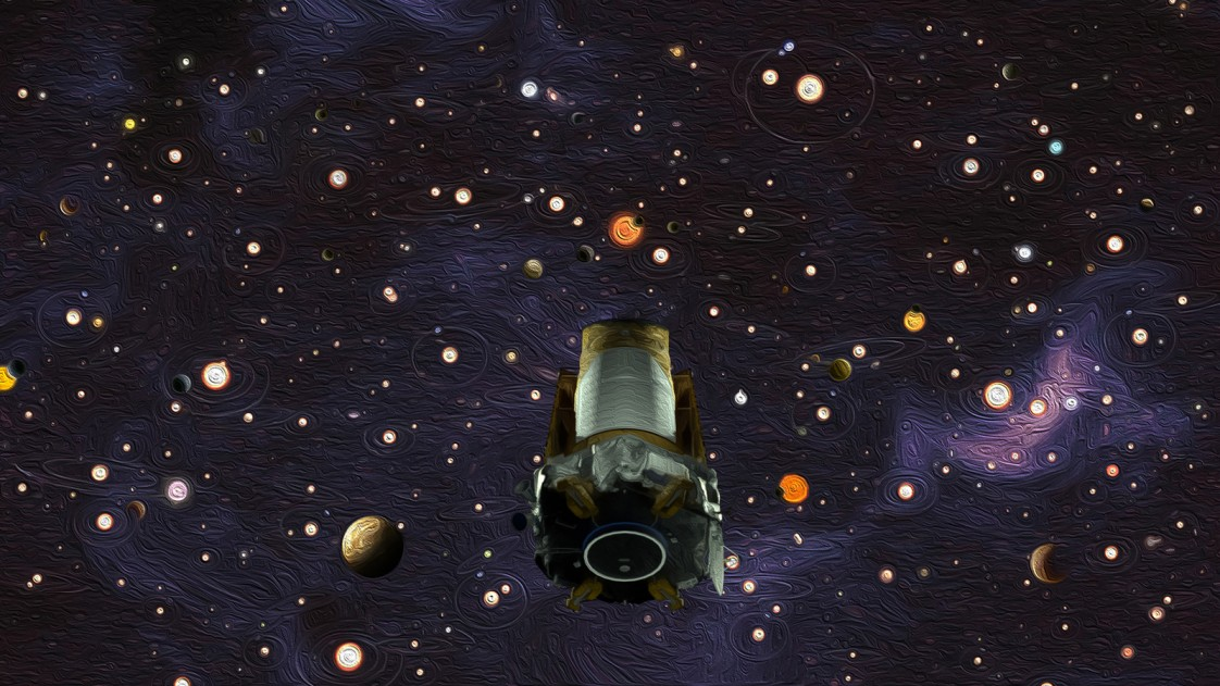 An oil painting of the Kepler spacecraft floating through space
