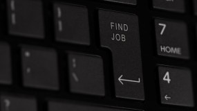 "Image of a keyboard with a ""find job"" button."
