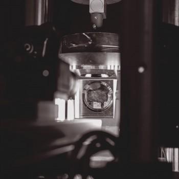 Uterine tissue sample in materials testing machine