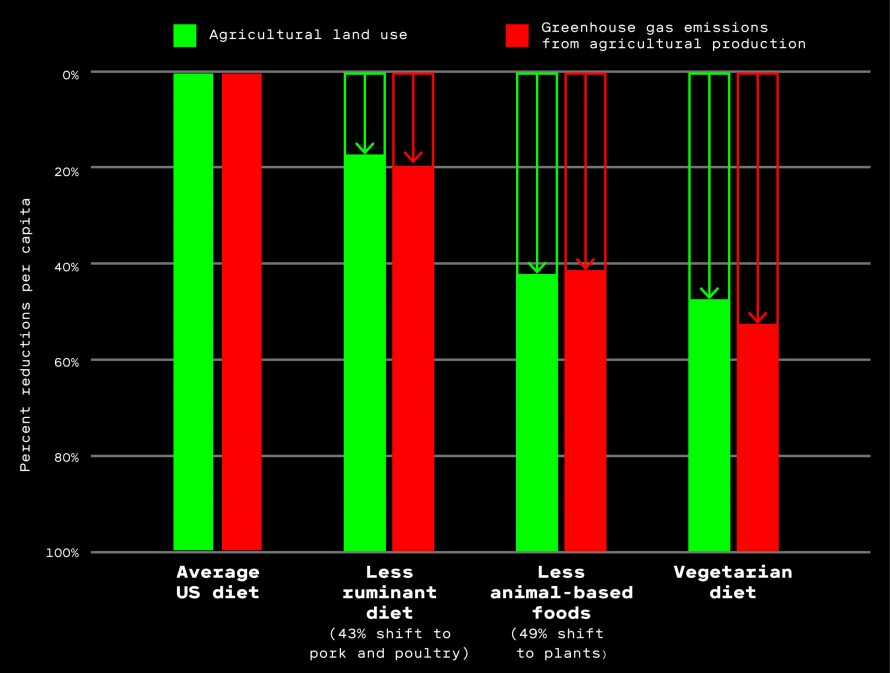 Chart showing decline in agricultural land use and greenouse gas emissions with reduced meat intake