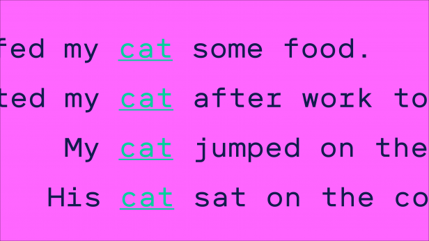 "List of sentences all containing the word ""cat"""