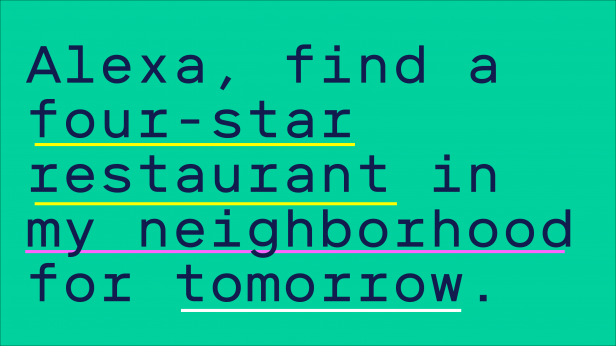 "Image reads ""Alexa, find a four-star restaurant in my neighborhood for tomorrow."""