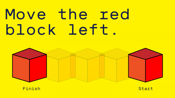 "Image reading and showing ""Move the red block left""."