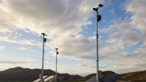 Several of Anduril's Lattice towers.