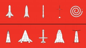 Illustrations of space vessels in the categories of 5 new plans and 5 failures