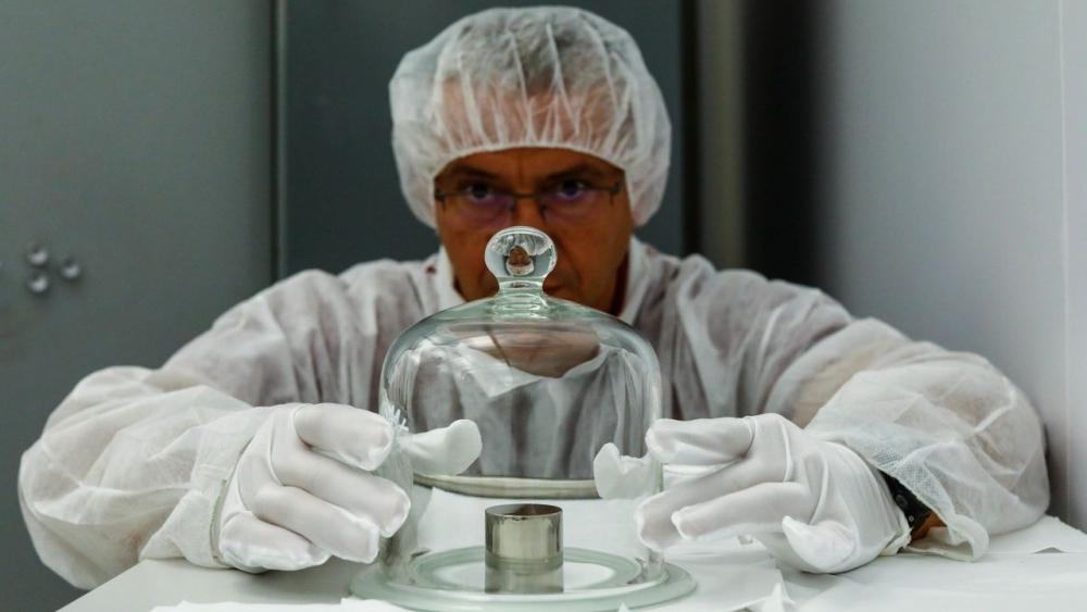 "A replica of ""Le Grand K,"" the previous international standard for measuring a kilogram"