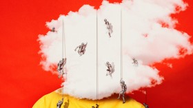 Conceptual illustration showing a person whose face is obscured by a cloud with small soldiers repelling over it.