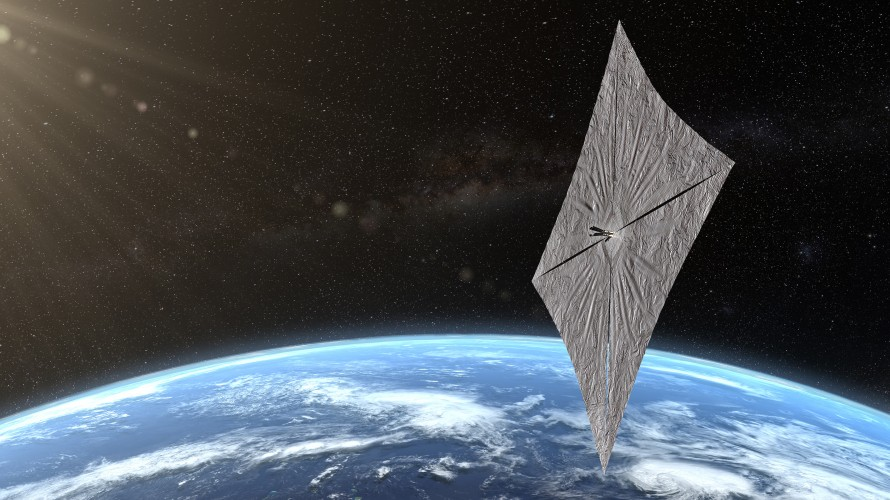 An artist's impression of the Lightsail once it's unfurled in orbit