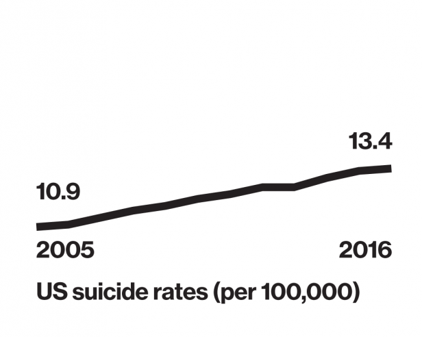 Line graph of US suicide rates (per 100,000) 10.9 in 2005 and 13.4 in 2016.