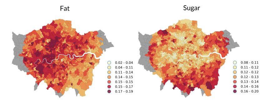 London's fat and sugar consumption