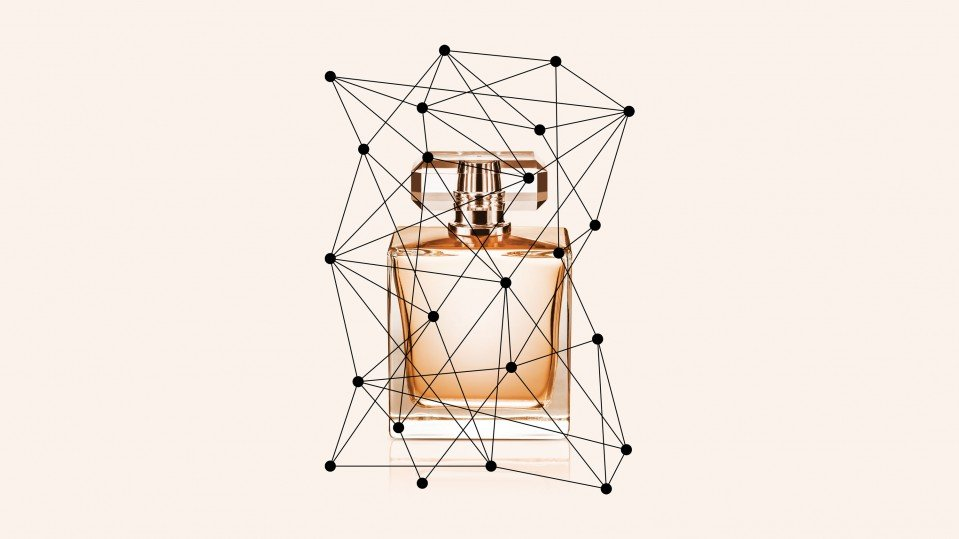 Concept drawing of perfume bottle and AI network