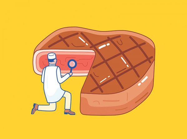Illustration of scientist inspecting a piece of steak