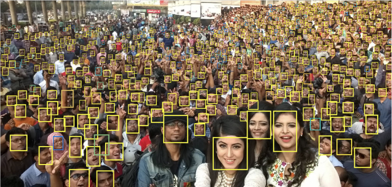 Face recognition software capable of finding individual faces in a large crowd.