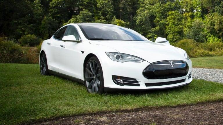A White Tesla Model S sedan