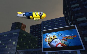 A virtual billboard advertises a theme-park ride related to the Despicable Me animated films.