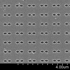 Tiny antenna: This scanning electron microscope image shows an array of plasmonic nanoantennas made from titanium nitride.