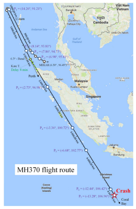 "Image of map that reads ""MH370 flight route"""