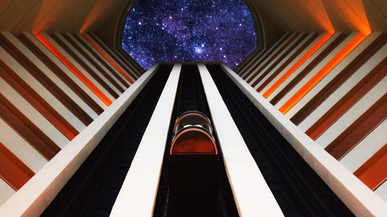 Photo-illustration of space elevator