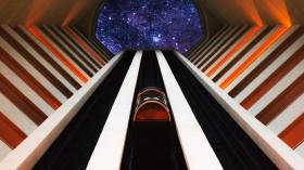Photo-illustration of space elevator