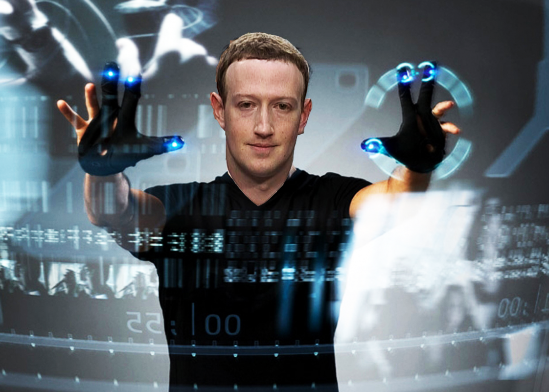 A photo of Mark Zuckerberg's head on a poster for Minority Report showing Tom Cruise