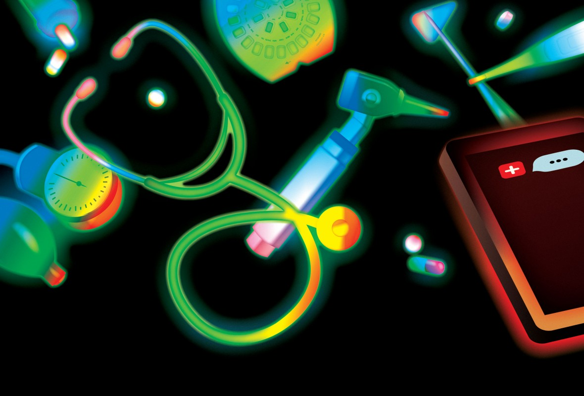 Illustration of medical equipment and ipad