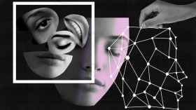 An illustration. On the left, scattered cut outs of face parts like eyes and mouths contained in a box. Middle: a complete face, eyes closed. On the right: a network in the shape of a head.