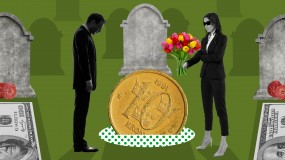 Conceptual illustration of a coin funeral