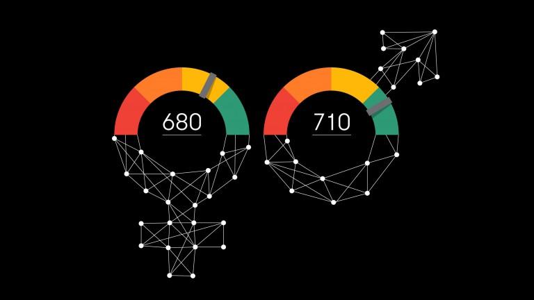 Credit scores overlaid on male and female symbols.