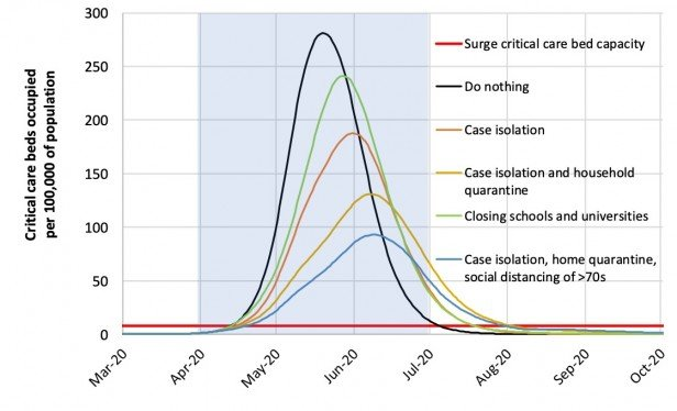 A graph of critical care beds occupied over time.