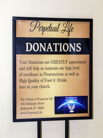 Perpetual Life poster on donations