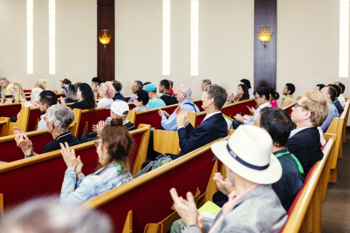 Congregants at the Church of Perpetual Life in Hollywood, Florida.