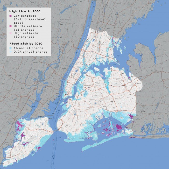 Map of NYC with flood prediction shading