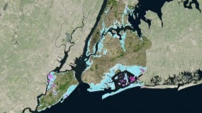 Satellite map of New York City with predicted flood mapping shading