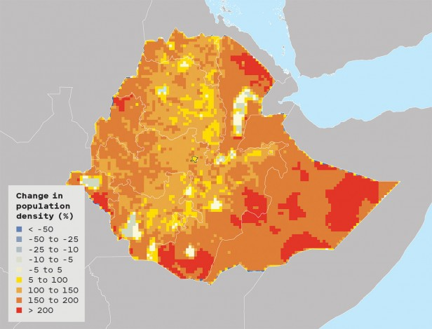 Choropleth map of Ethiopia showing change in population density