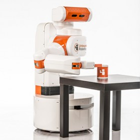 white and orange robot