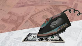 Conceptual photo illustration of money laundering