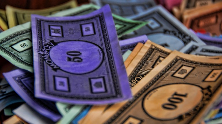Play money from the board game Monopoly.