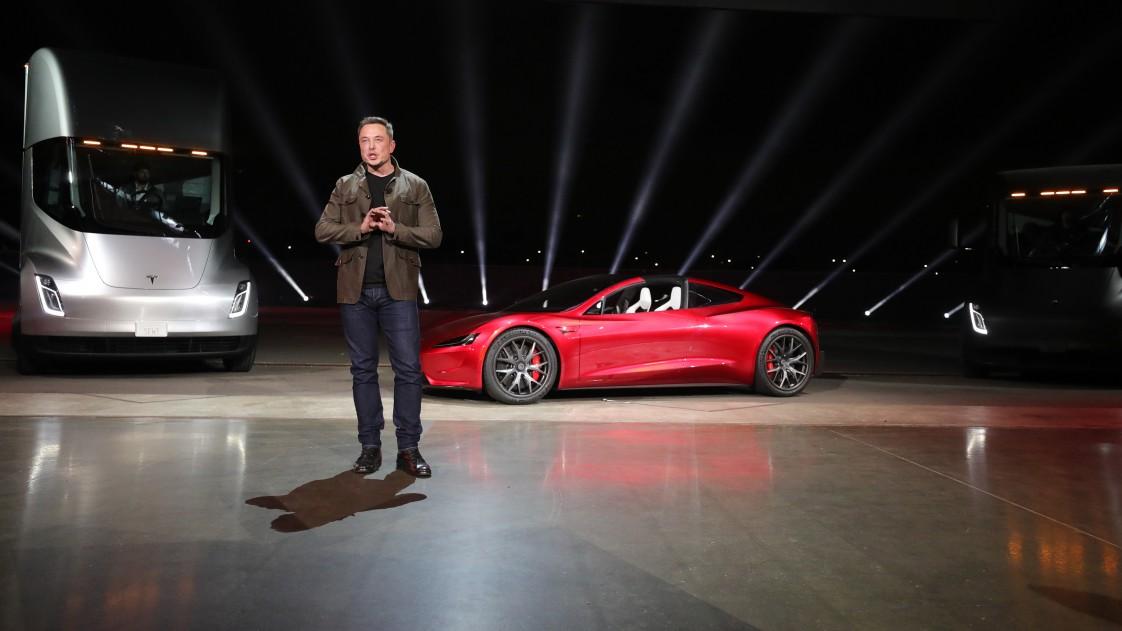 Elon Musk at the Tesla Semi unveiling.