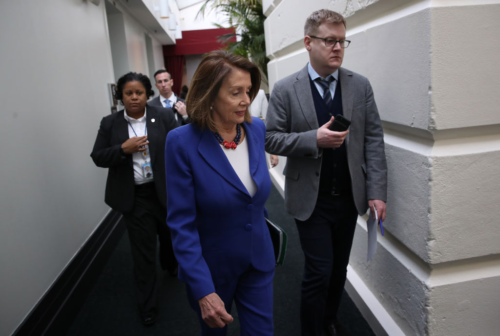 House speaker Nancy Pelosi talking to the media