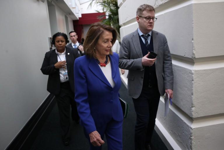 House speaker Nancy Pelosi talking to the media