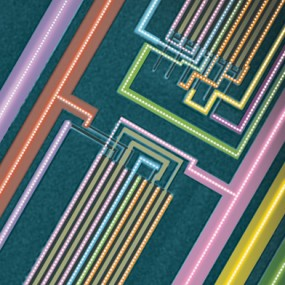 a scanning electron microscopy image of a section of the first ever carbon nanotube computer