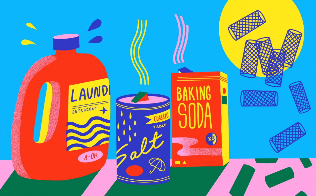 An illustration of laundry detergent, salt, baking soda, and nano tubes