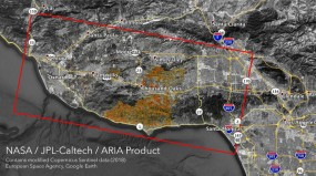 A map depicting damage from the Woolsey Fire in southern California