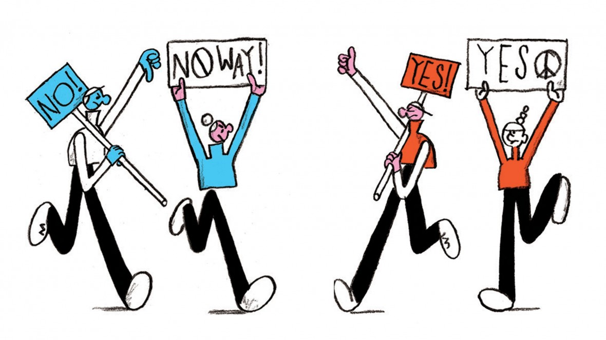 Illustration of opposing picketIllustration of picketers on opposing sidesers