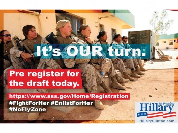 "Meme showing photo female soldiers reading ""It's our turn. Pre-register for the draft today."""