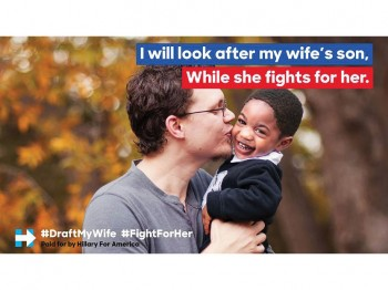 "Meme showing photo of man and child, that reads ""I will look after my wife's son, White she fights for her."""