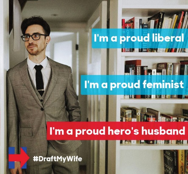"Meme showing photo of man, which reads, ""I'm a proud liberal, I'm a proud feminist, I'm a proud hero's husband."""