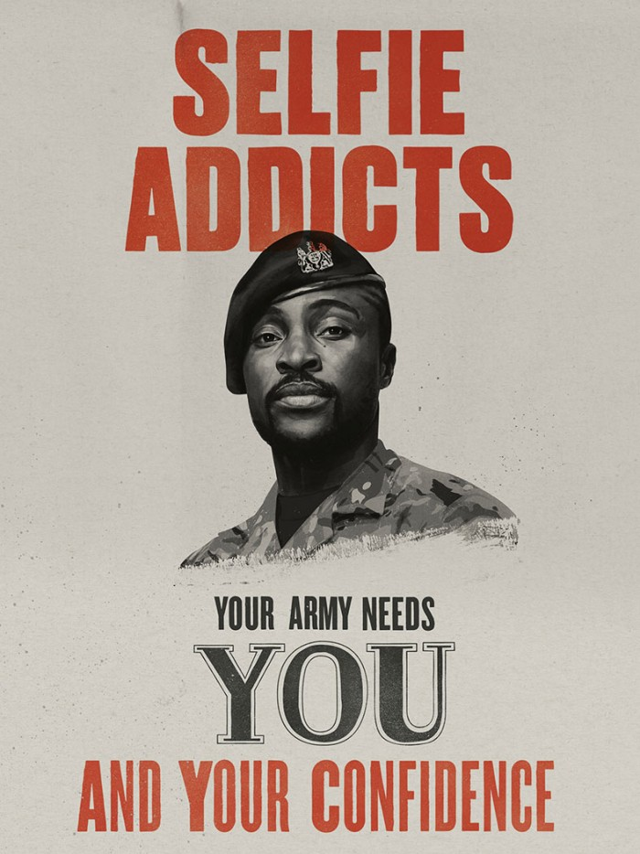 Mock war poster reading 'Selfie addicts, your army needs you and your confidence'