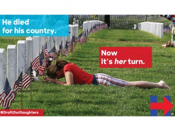 "Meme showing photo of woman crying in front of grave site reading ""He died for his country,. Now it's her turn."""