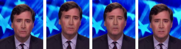 Four video still images that mirror the original Tucker Carlson video. The face on the speaker appears to be that of actor Nicolas Cage.